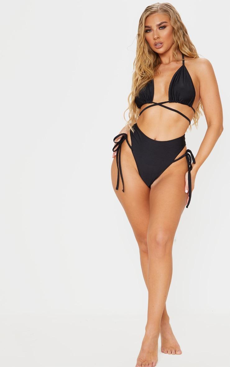Black Wrap Strap Bikini Top 4