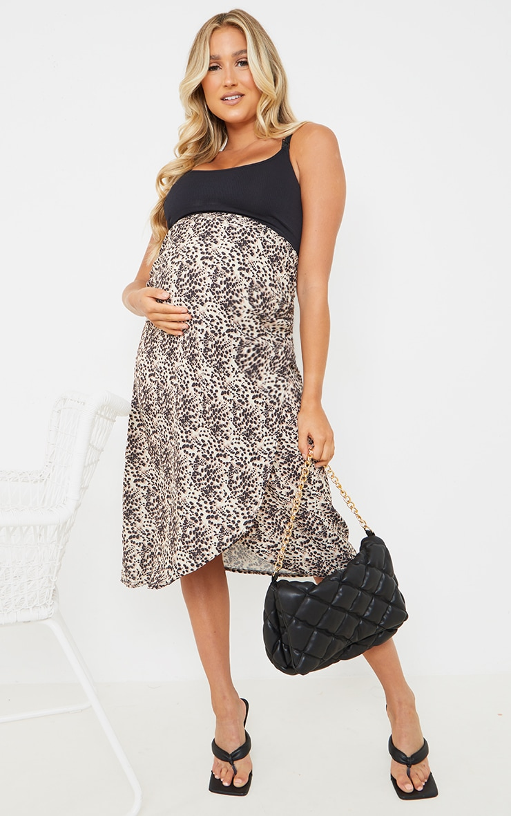 Maternity Brown Leopard Print Wrap Over Midi Skirt 1