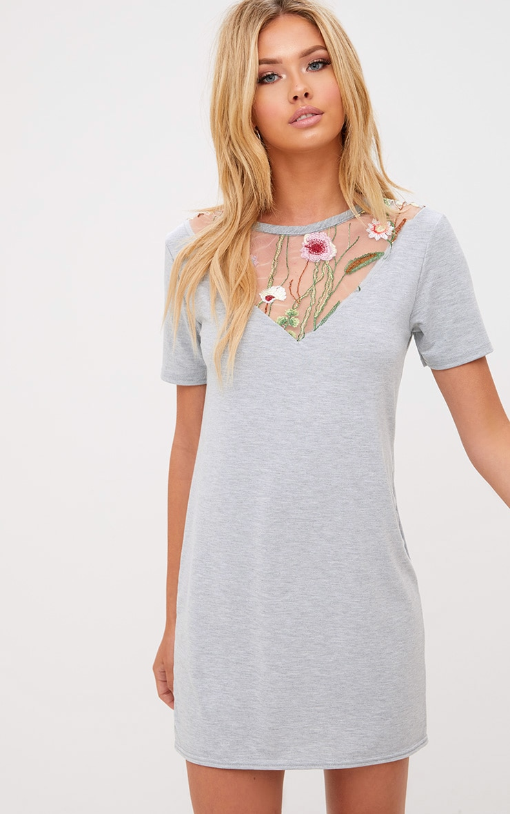 Grey Marl Embroidered Insert T Shirt Dress 1