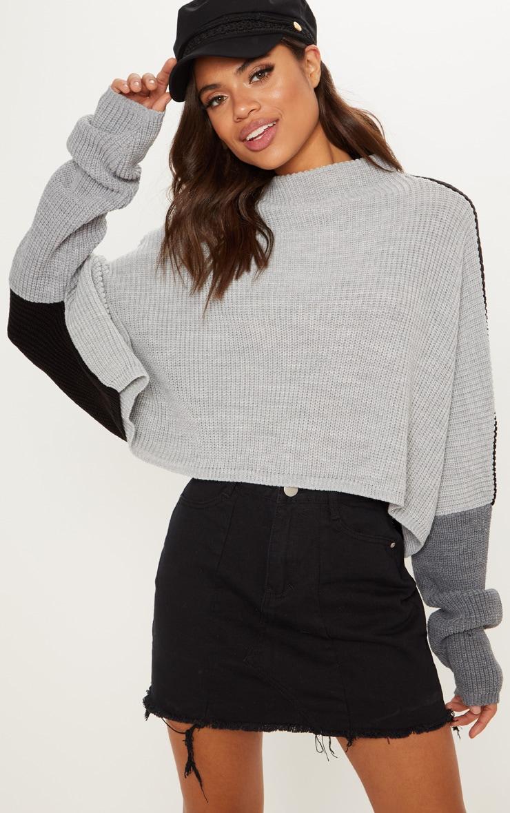 Black Oversized Colour Block Sweater  2