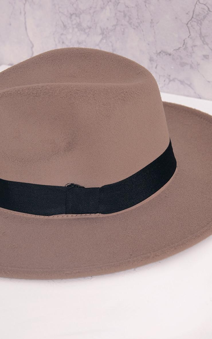 Kynia Camel Wide Fedora Hat 5