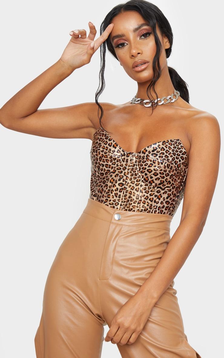 Tan Leopard Print Faux Leather V Wire Bodysuit 1