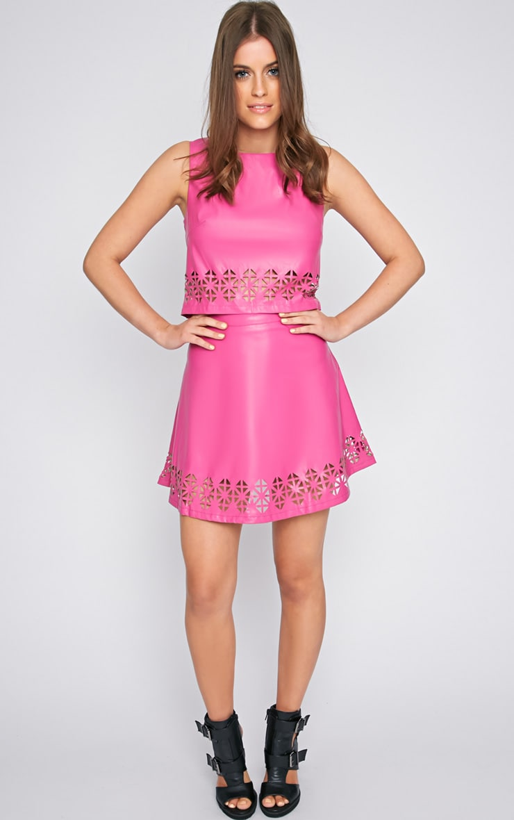 Amiya Pink Cut Out Leather Skater Skirt  3