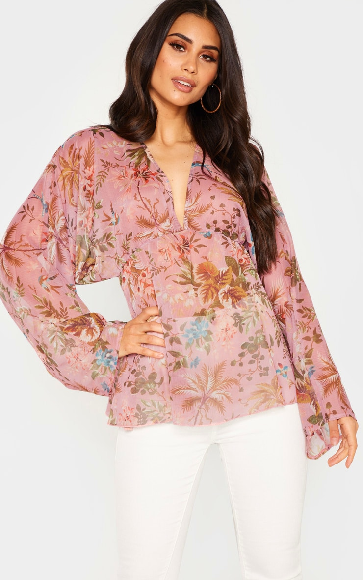Pale Pink Floral Printed Plunge Ruched Sleeve Top 1