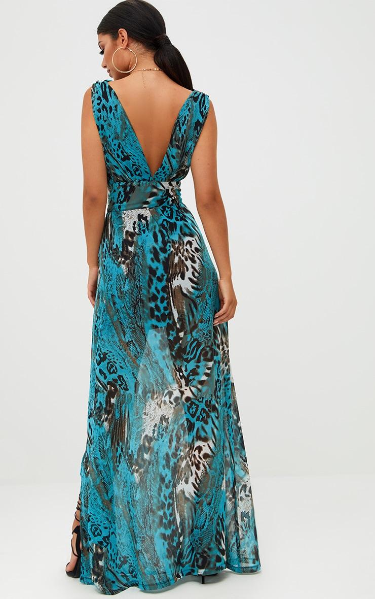 Blue Snake Print Cut Out Maxi Dress  2