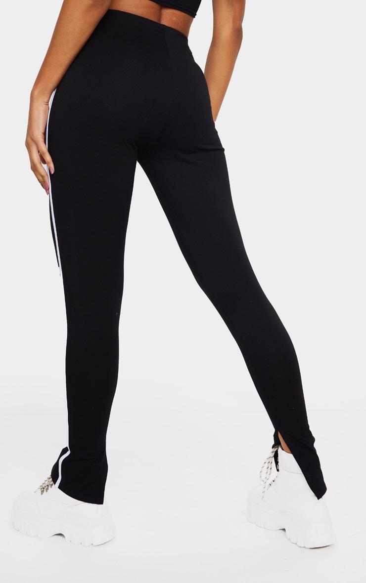 Black Sports Stripe High Waisted Split Hem Pants 3
