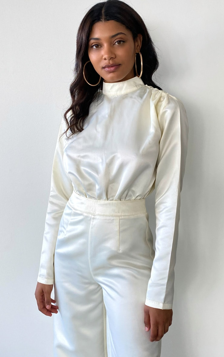 Tall Cream Ruched Shoulder Satin Bodysuit 1