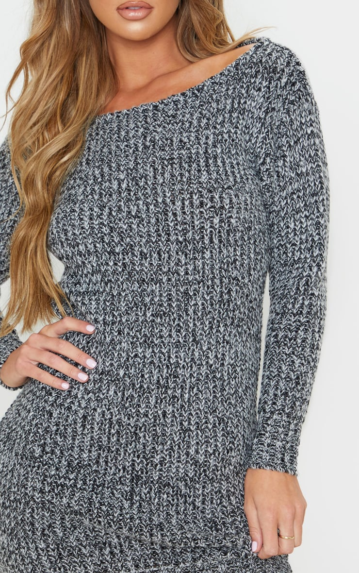 Grey Two Tone Off Shoulder Sweater Dress 4
