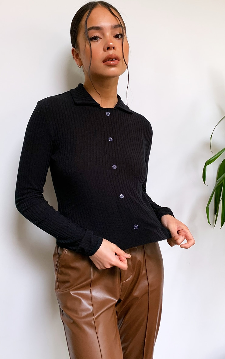 Black Rib Button Up Fitted Shirt 1