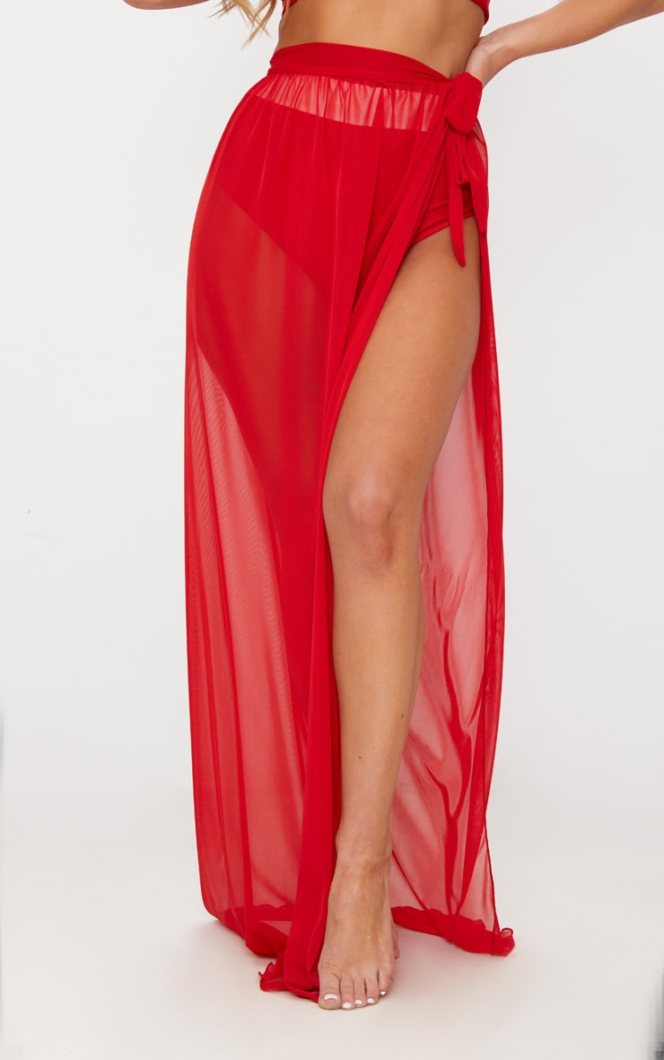 Red Tie Side Maxi Beach Skirt 2