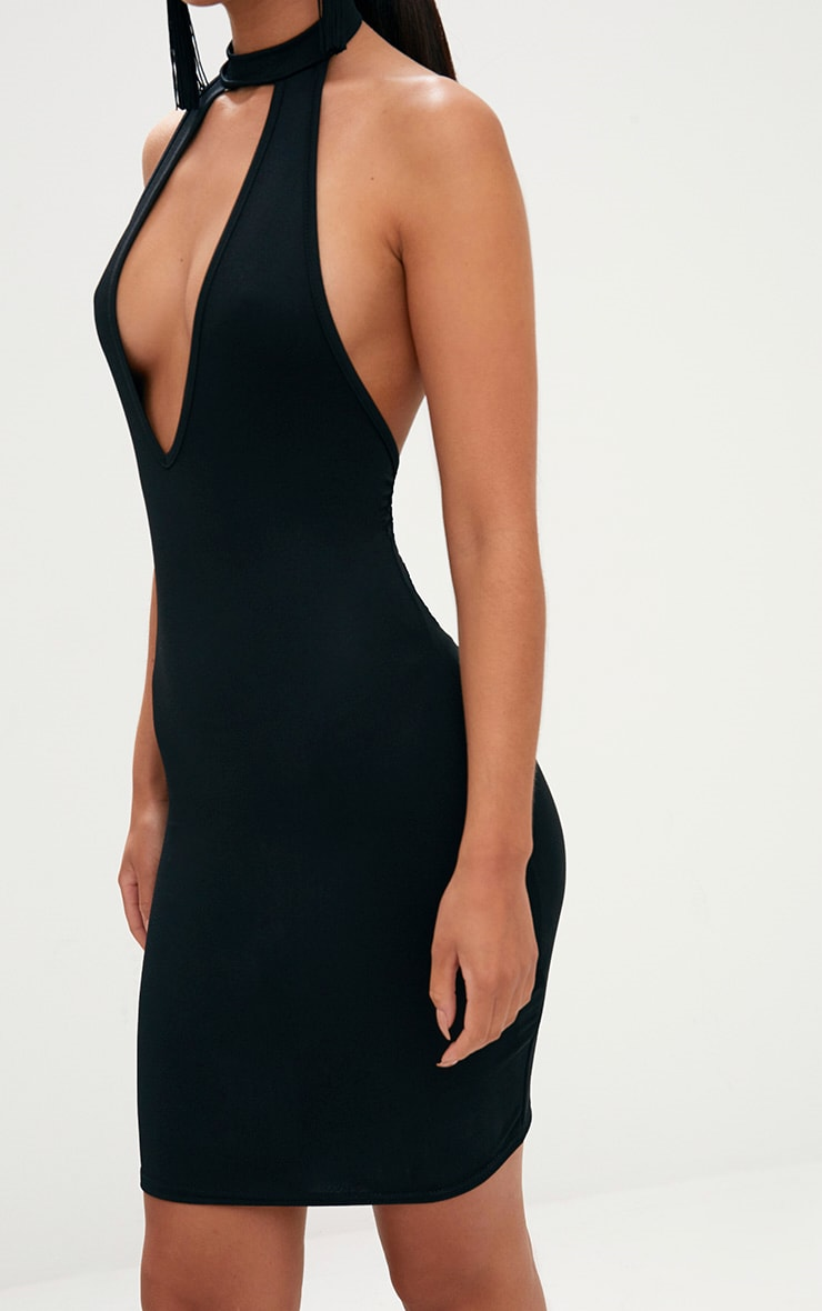 Black High Neck Plunge Front Bodycon Dress 5