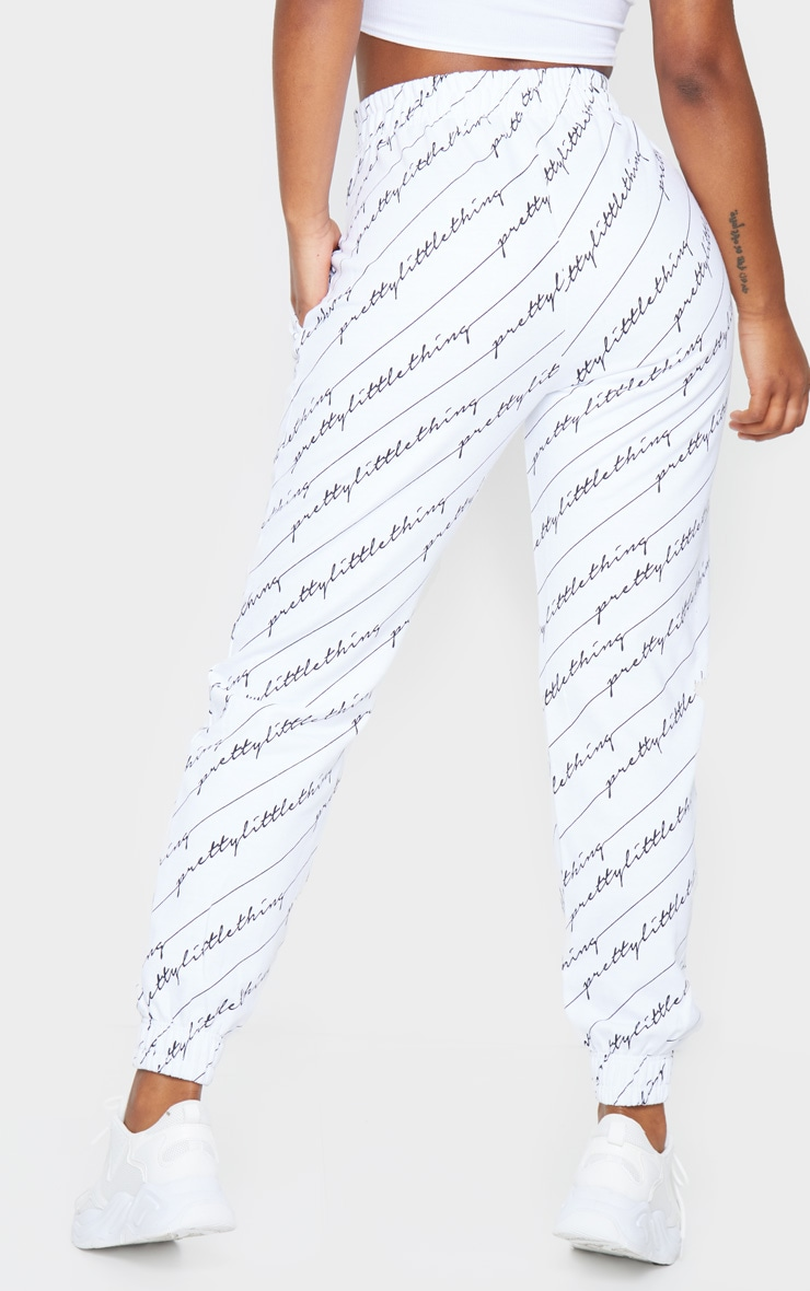 PRETTYLITTLETHING White Printed Joggers 3