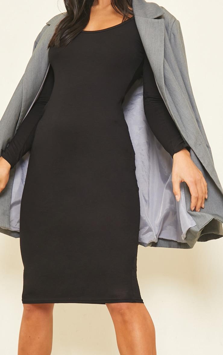 Petite Black Long Sleeve Jersey Midi Dress 4
