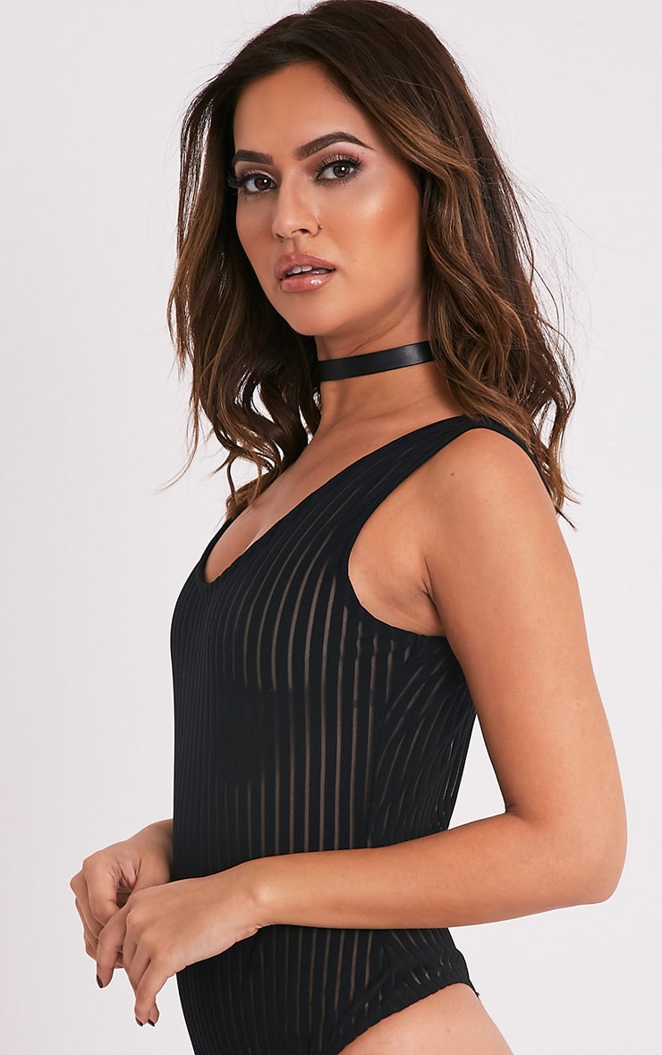 Analiza Black Stripe Mesh Scoop Back Thong Bodysuit 5