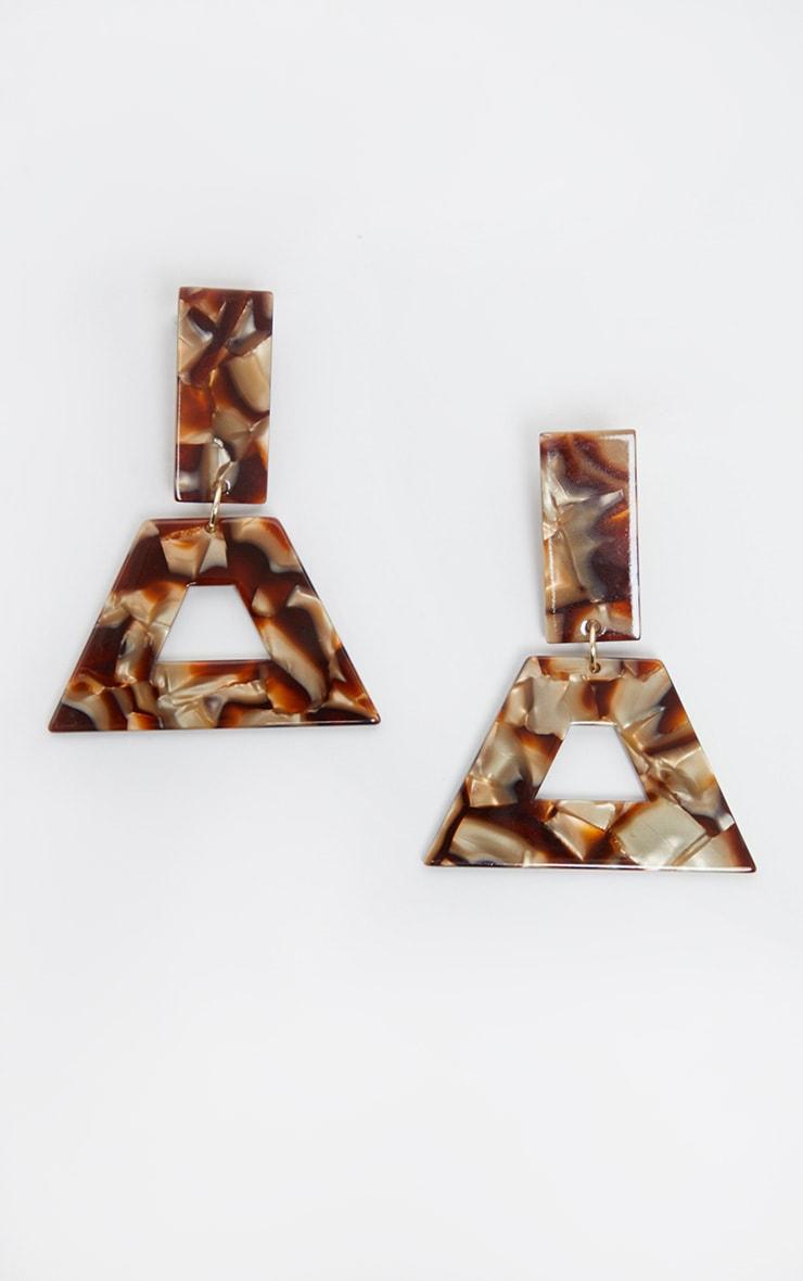 Brown Marble Effect Multi Shape Drop Earrings 2