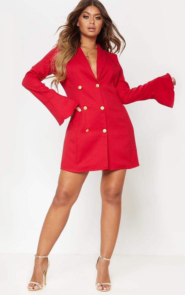 Red Flared Cuff Blazer Dress by Prettylittlething