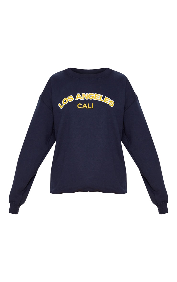 Navy Los Angeles Slogan Sweater 3