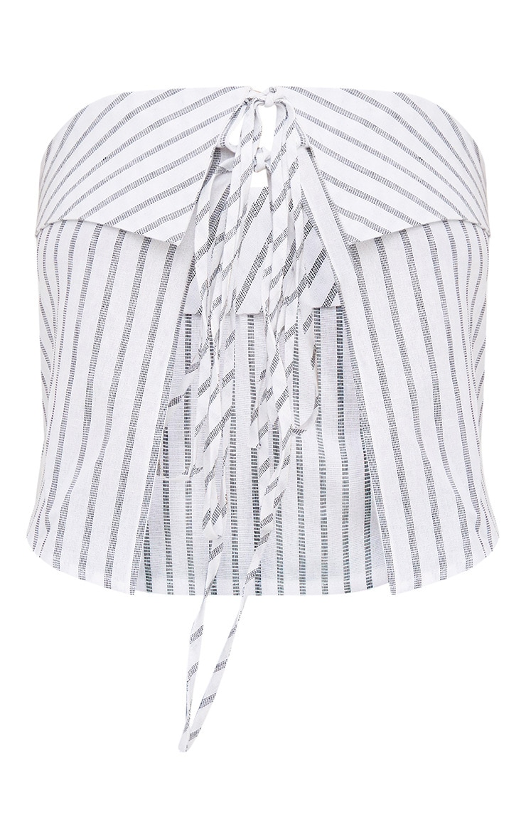 White Stripe Tie Front Cropped Bandeau Shirt  3