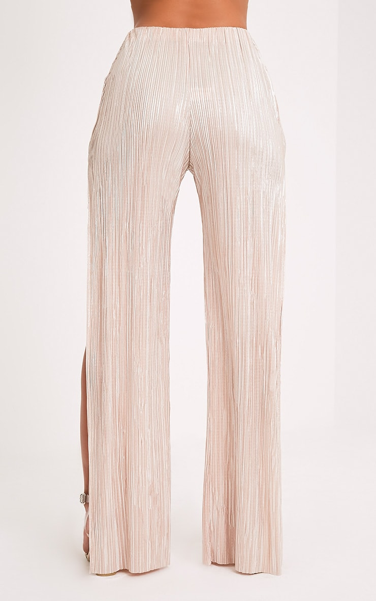 Dena Stone Metallic Pleated Side Split Trousers 5