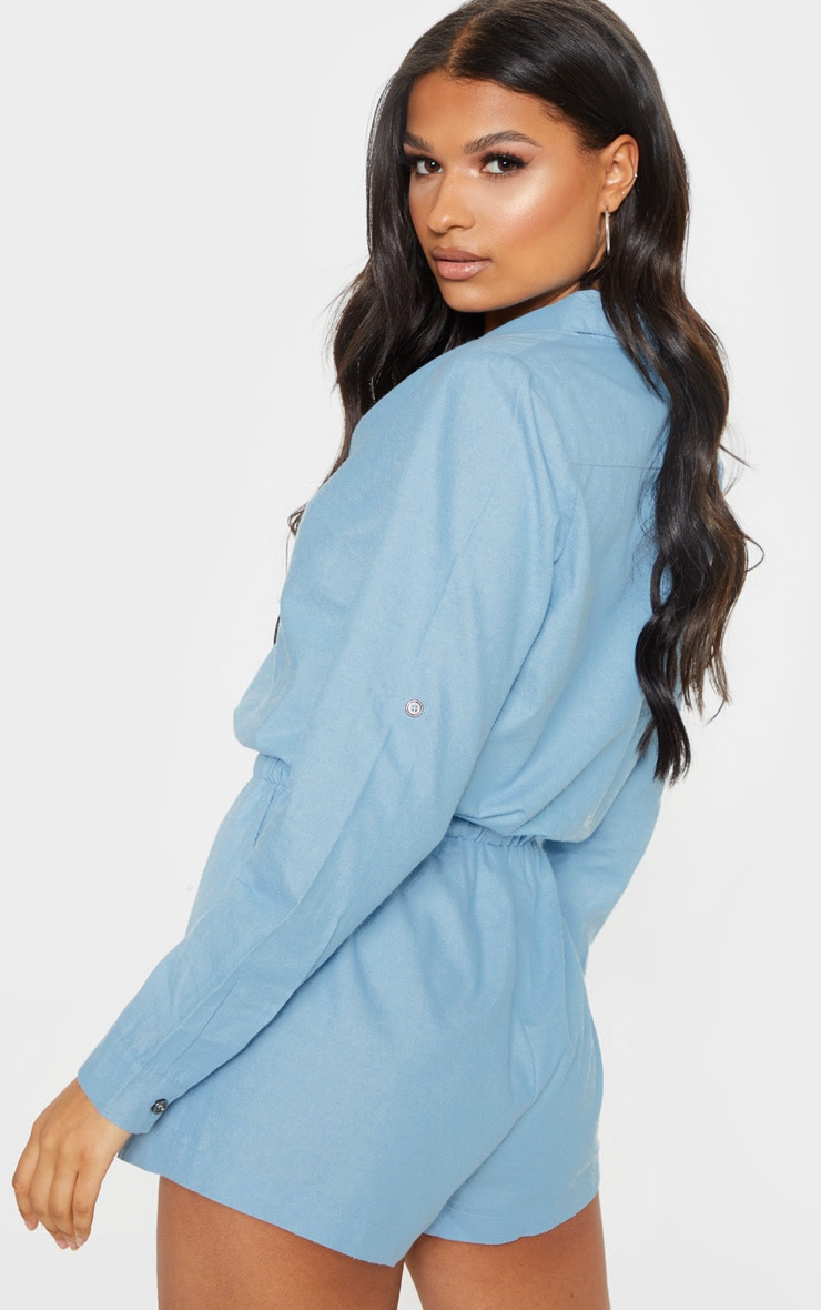 Light Wash Chambray Tie Waist  Romper 2