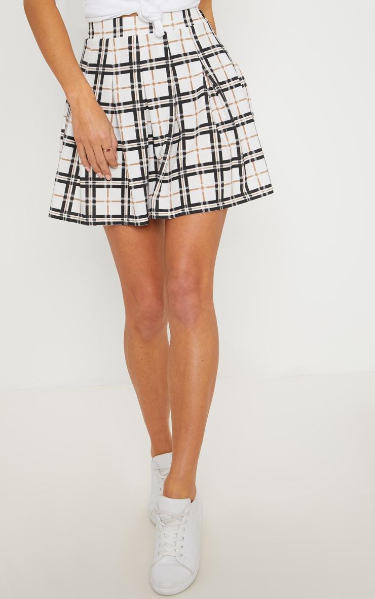 Black Check Tennis Side Split Skirt 2