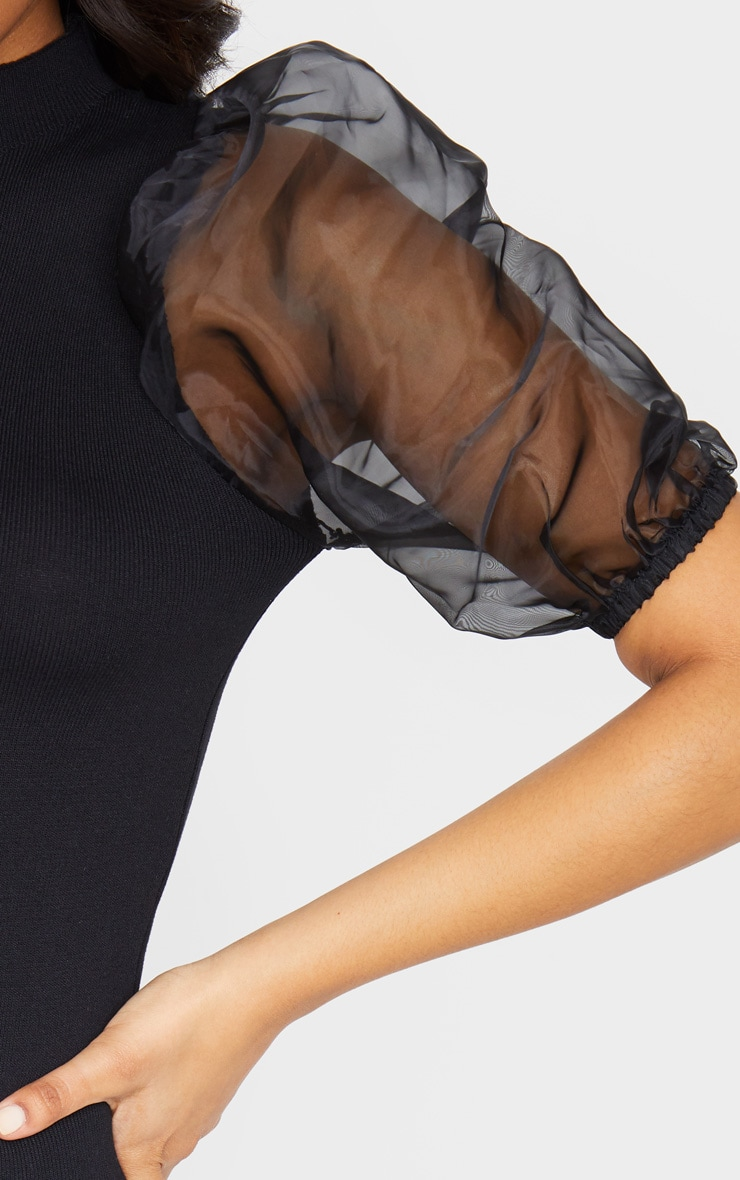 Black Organza Puff Sleeve Knitted Dress 4