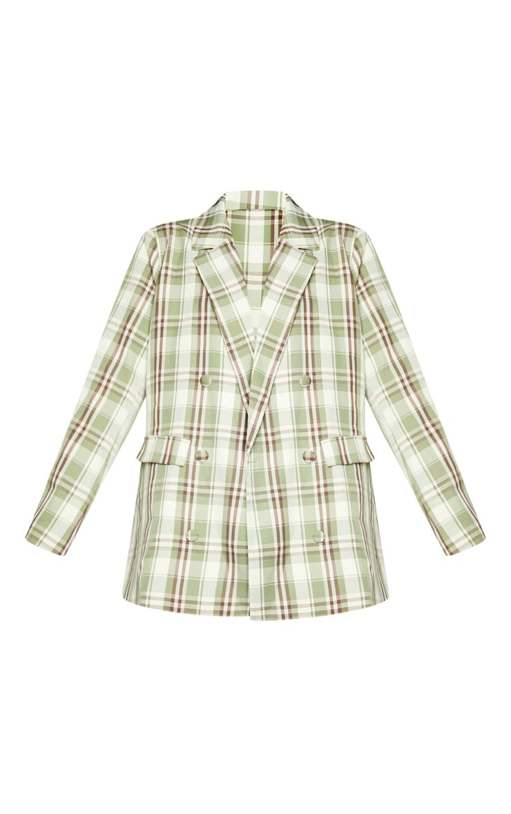 Green Woven Checked Double Breasted Oversized Blazer 5