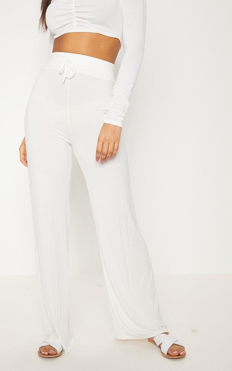 Cream Drawstring Jersey Wide Leg Jogger 2