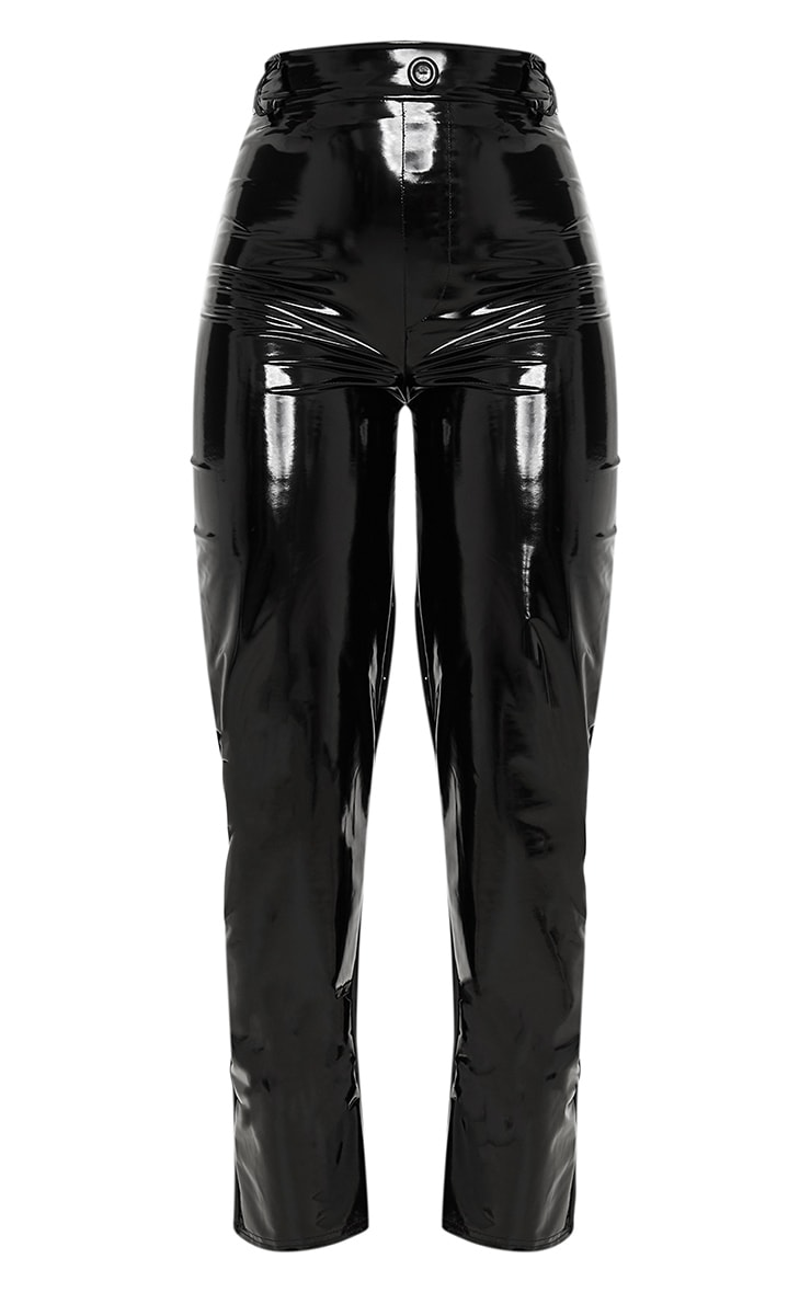 Black Vinyl Straight Leg Pants 3