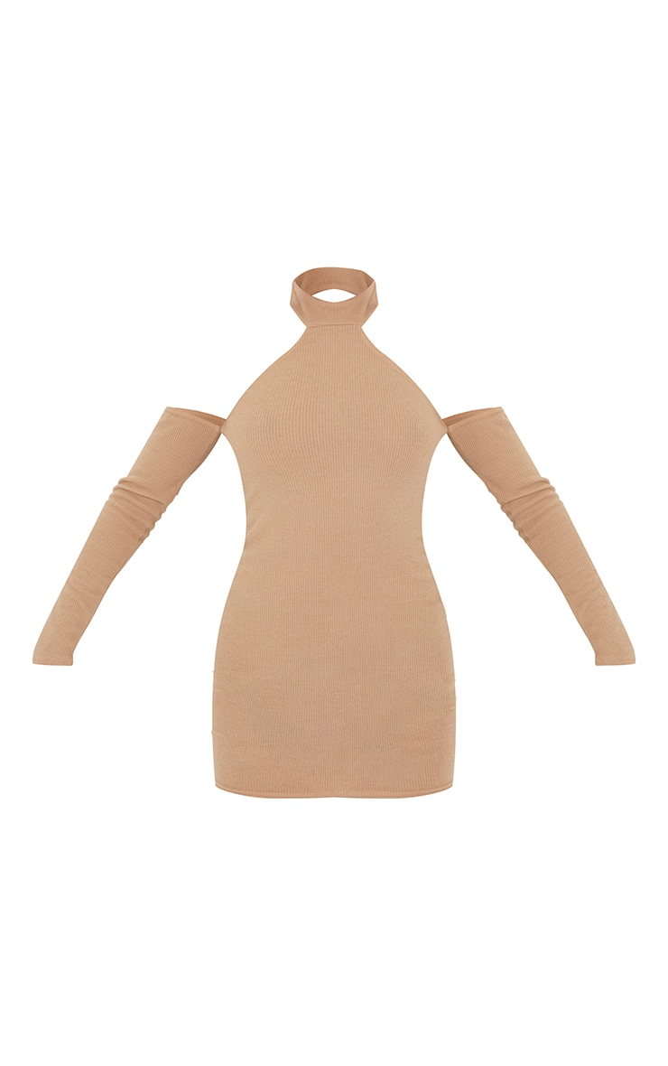 Nude Brushed Rib High Neck Cold Shoulder Bodycon Dress 5