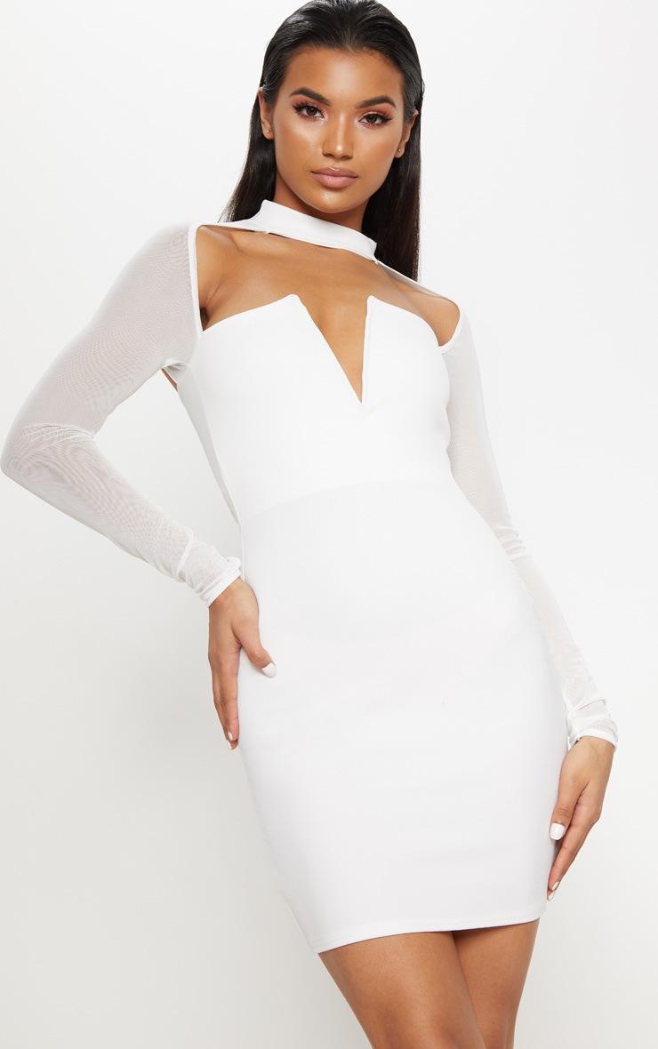 White Choker Neck Mesh Sleeve V Plunge Bodycon Dress 4
