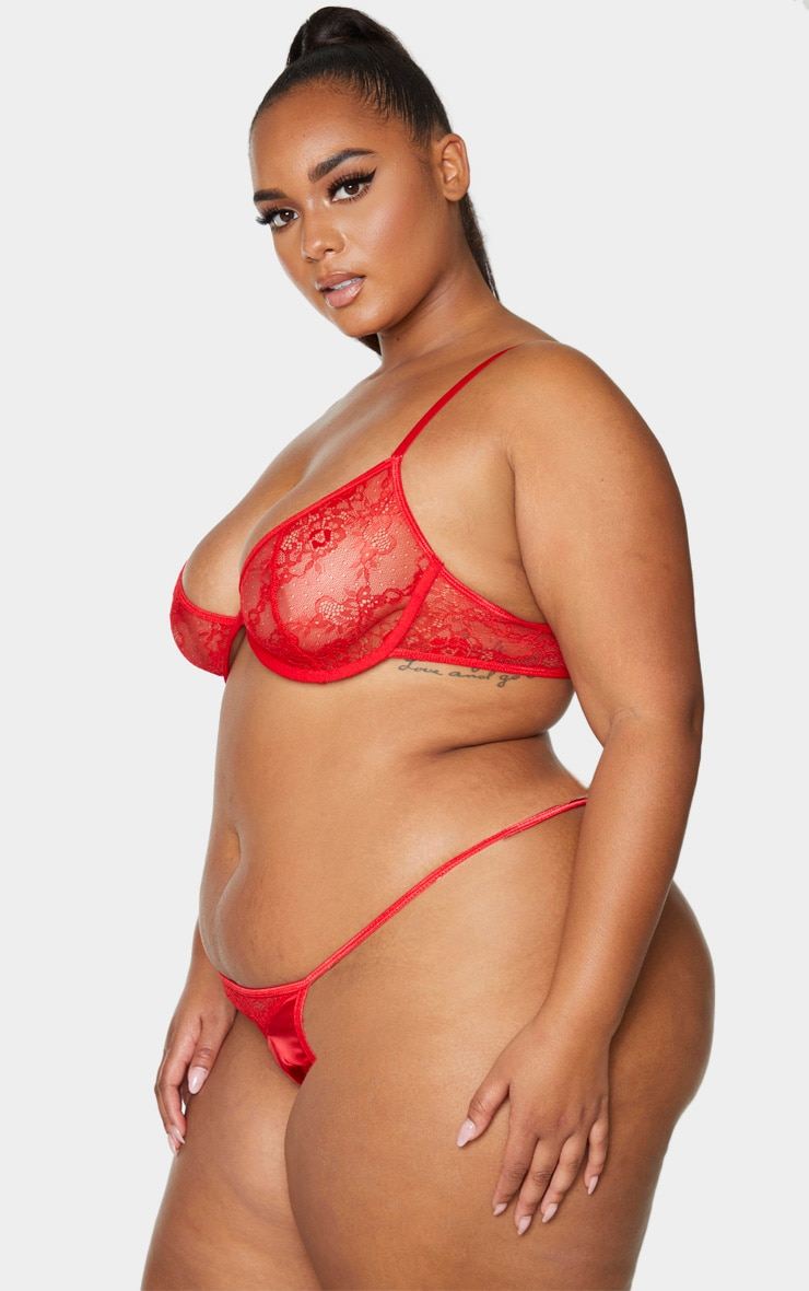 Plus Red Floral Lace And Satin G-String 2
