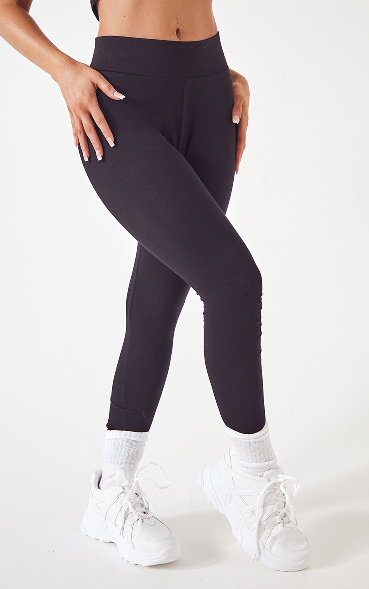 Basic Black Cotton Blend Jersey High Waisted Leggings 2
