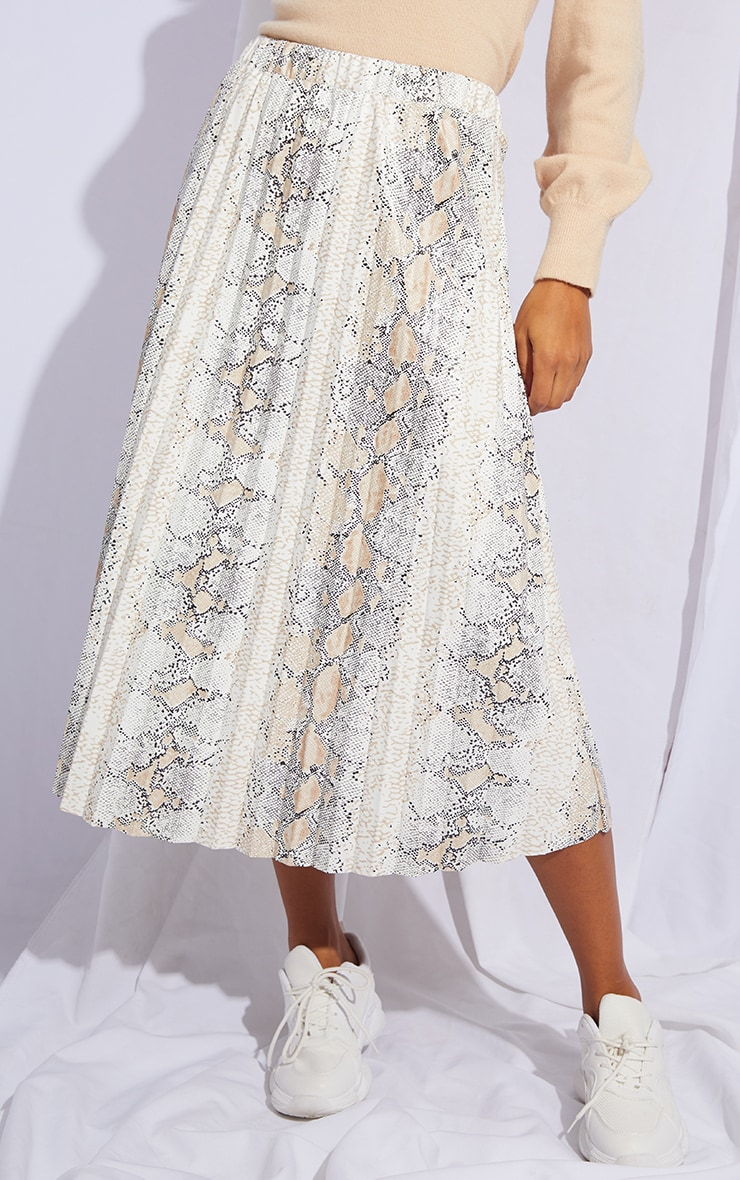 White Snake Faux Leather Pleated Midi Skirt 2