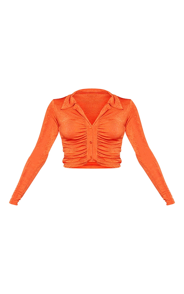 Orange Acetate Slinky Ruched Front Shirt 5