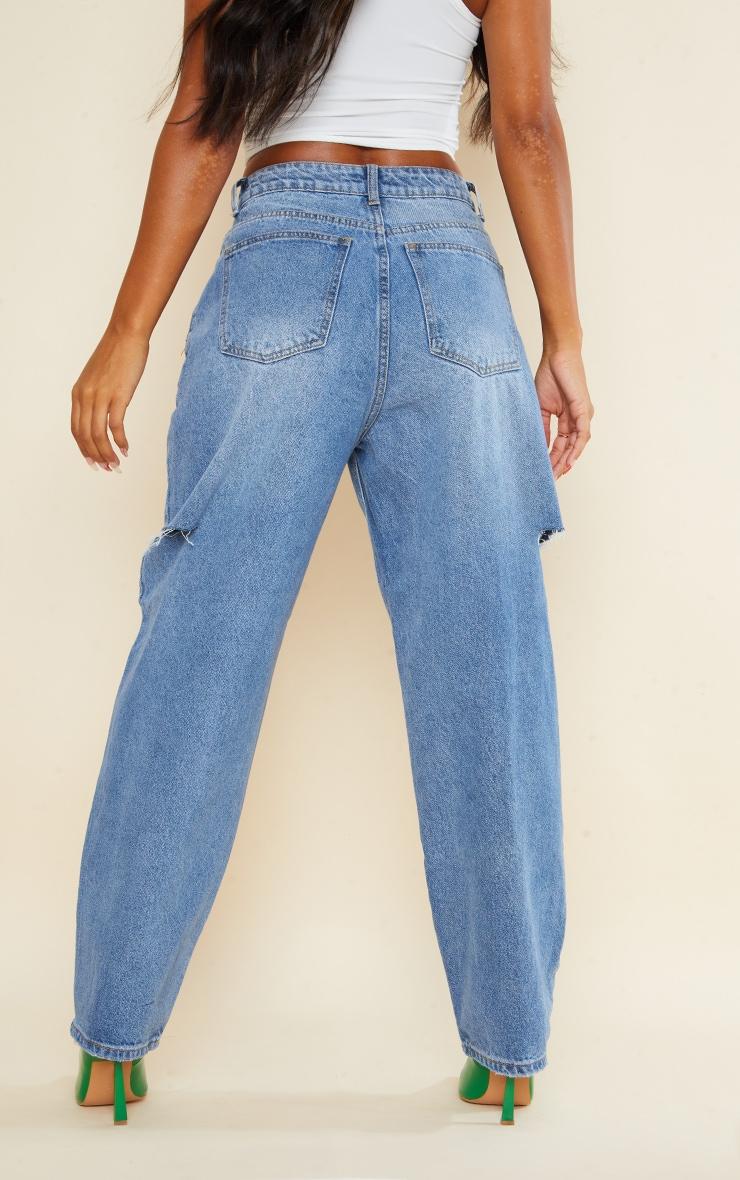 Mid Wash Thigh Split Baggy Boyfriend Jeans 3