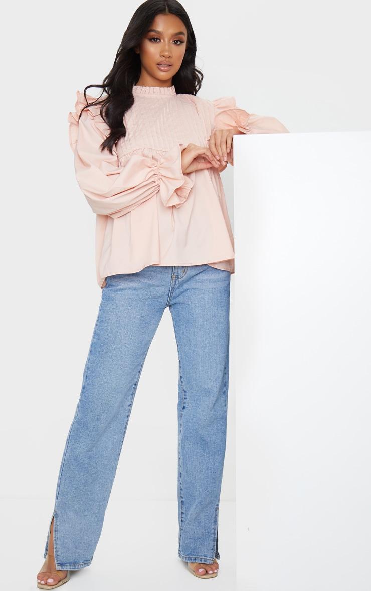 Petite Blush Frill Detail Long Sleeve Blouse 3