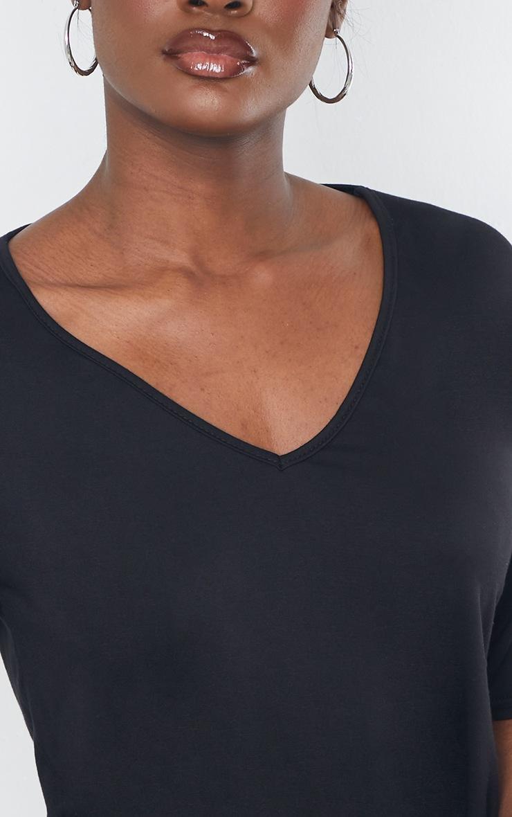 Tall Black Basic V Neck T shirt 4