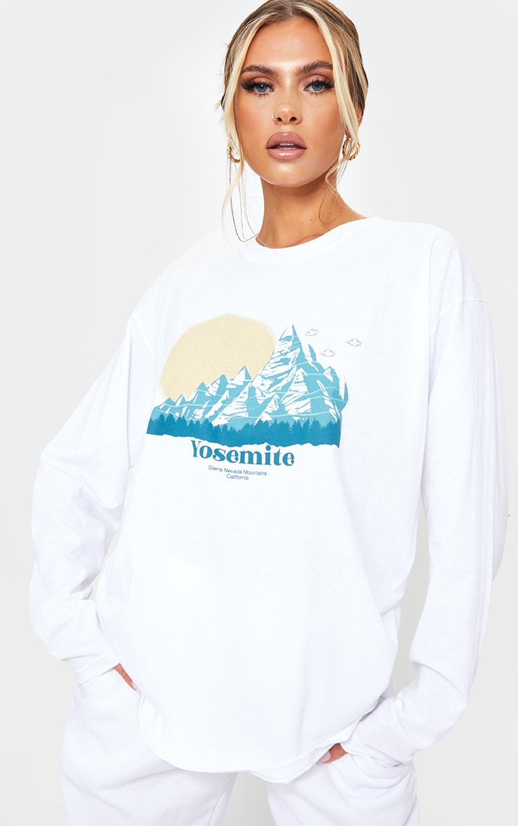 White Yosemite Printed Oversized Long Sleeve T Shirt 1