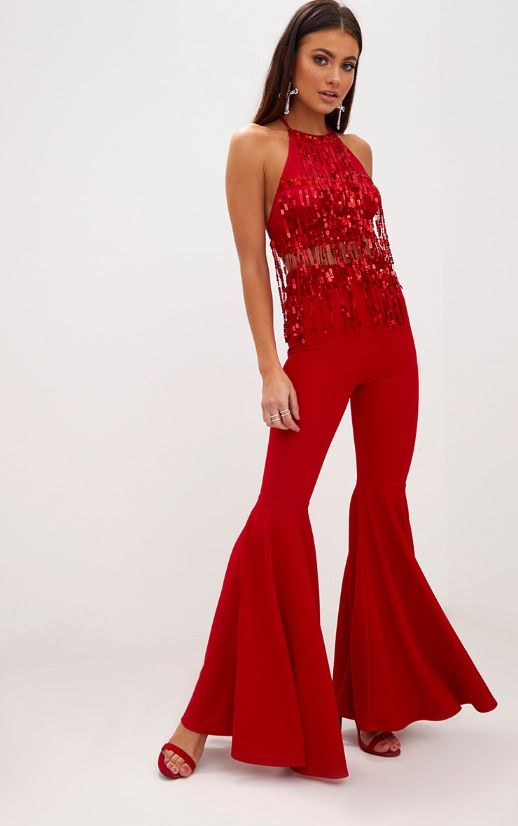 Red Sequin Tassel Crop Top 4
