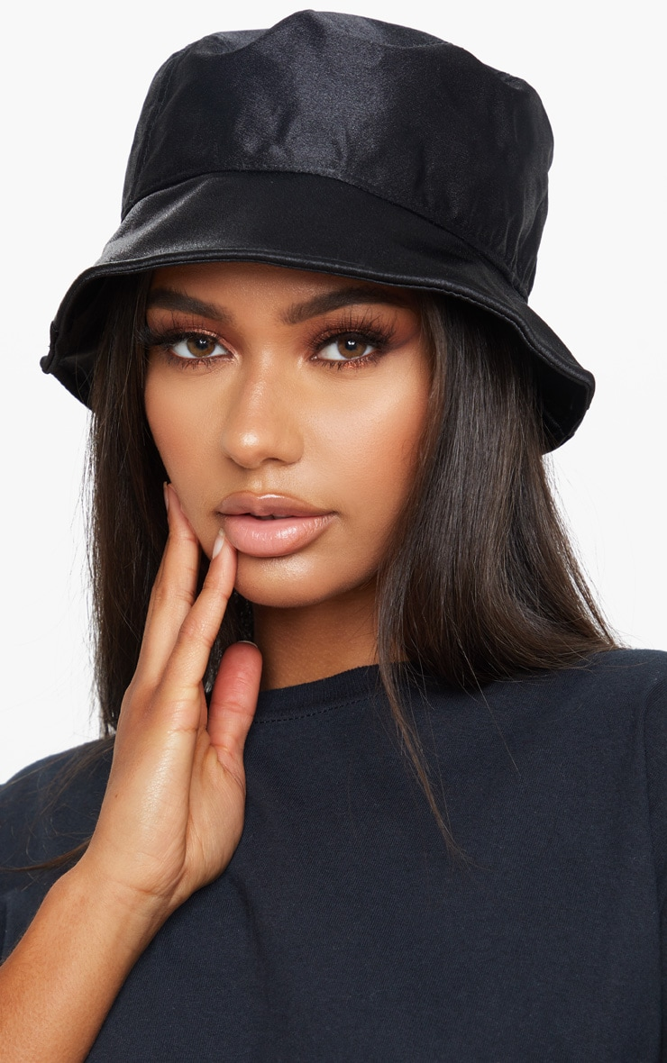 Black Satin Bucket Hat 1