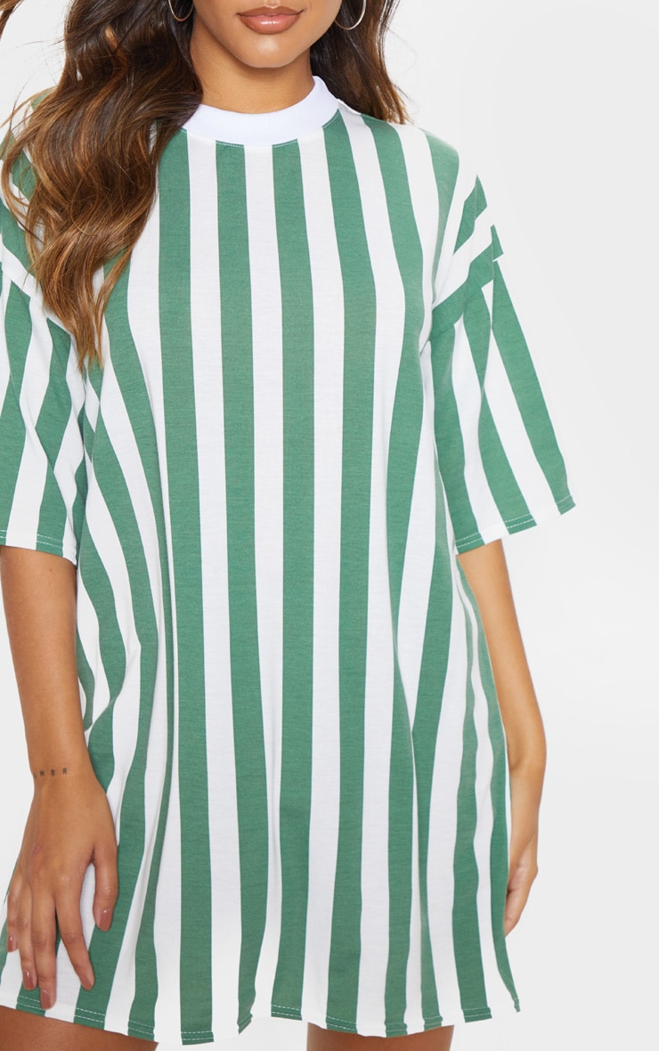 Khaki Vertical Stripe Oversized Boyfriend T Shirt Dress 4