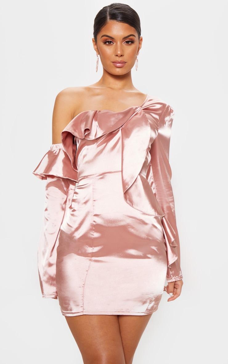 4a34b4723bd Robe moulante asymétrique vieux rose à volants. Robes ...