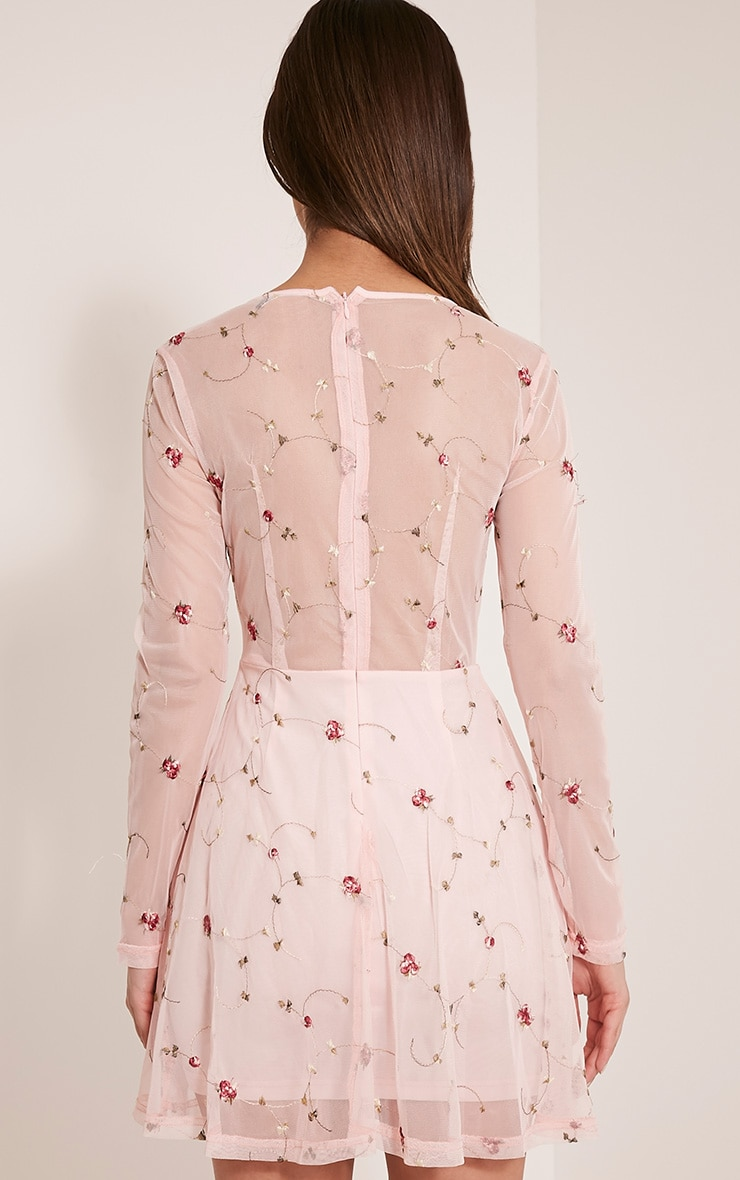 Eena Dusty Pink Embroidered Floral Prom Dress 2