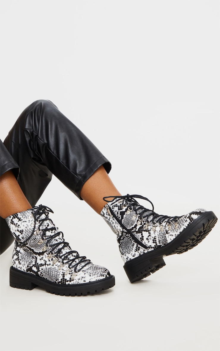 Snake Print Wide Fit Cleated Sole Hiker Eyelet Ankle Boot 1