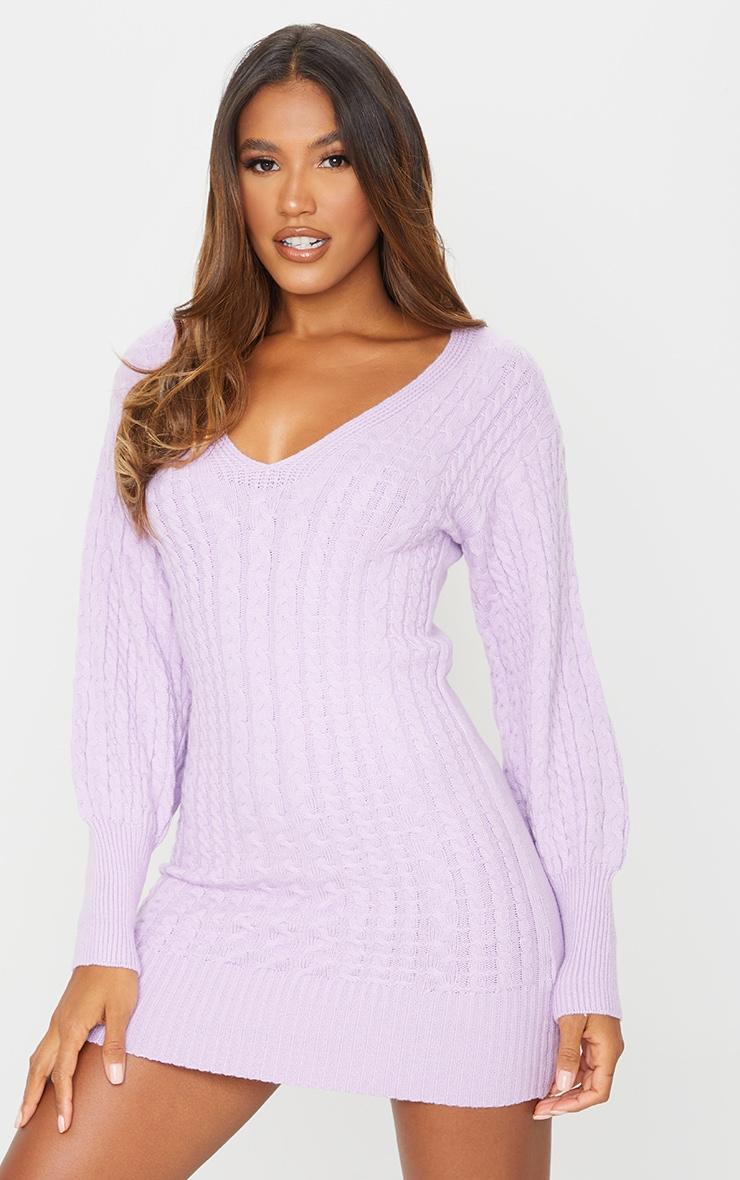 Lilac Cable Knit V Front Jumper Dress 1