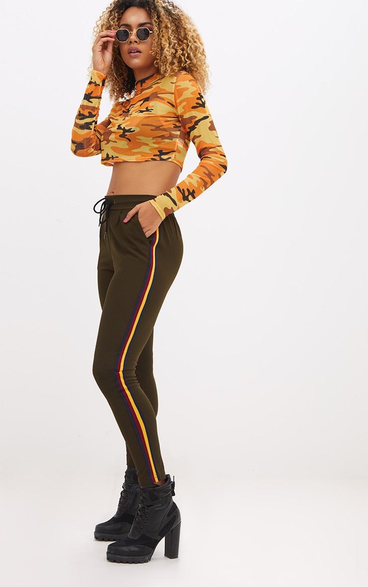 Khaki Double Sports Stripe Trouser 1
