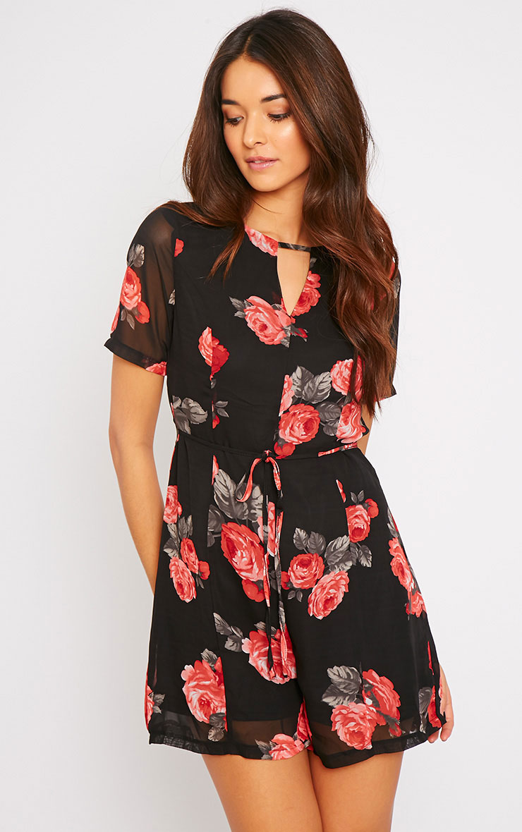 Jewel Black Rose Print Playsuit  1