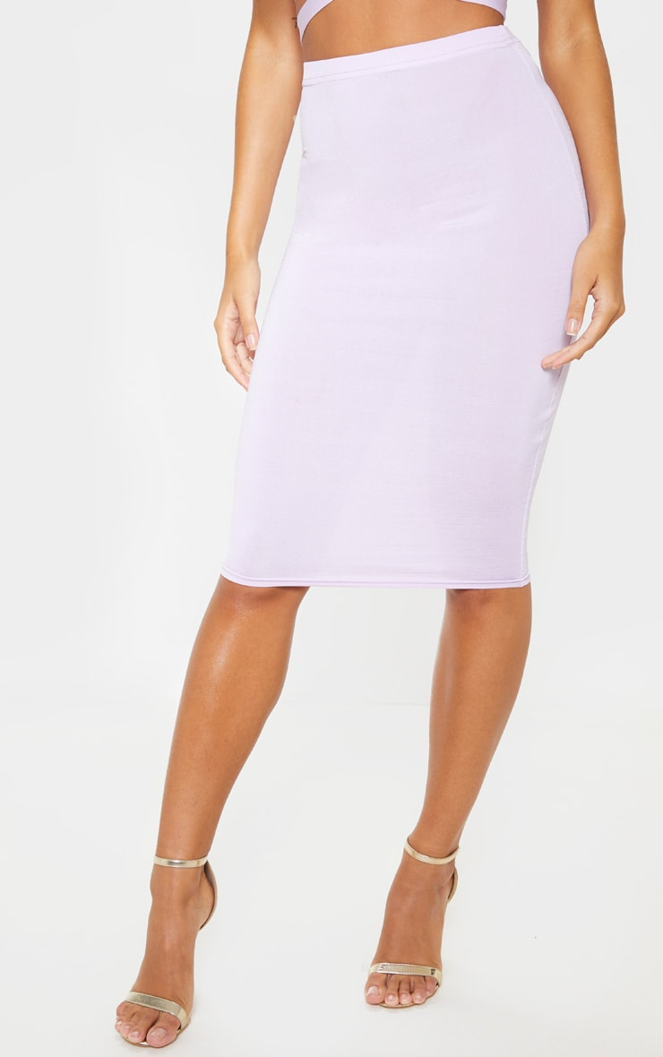 Lilac Slinky Midi Skirt 2