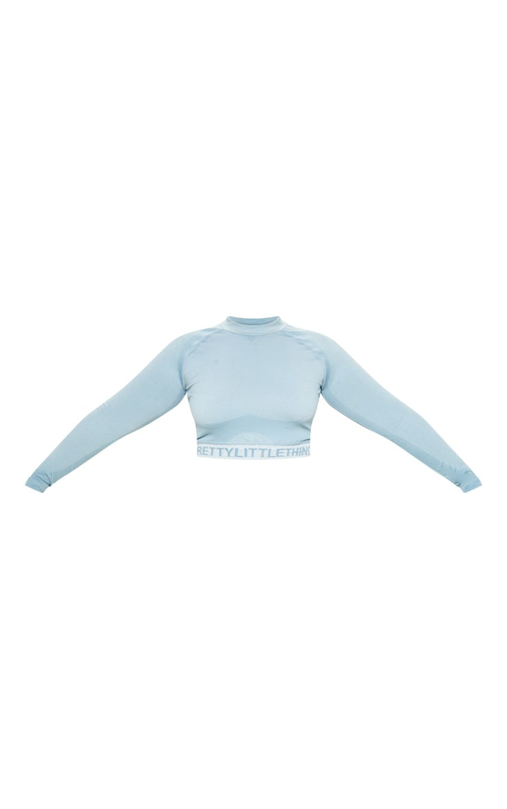 PRETTYLITTLETHING Plus Light Blue Seamless Long Sleeve Crop Top  3